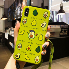 Kawaii Cartoon Cute Green Avocado Phone Case For iPhone X XR XS Max Pattern Soft TPU Back Cover Cases