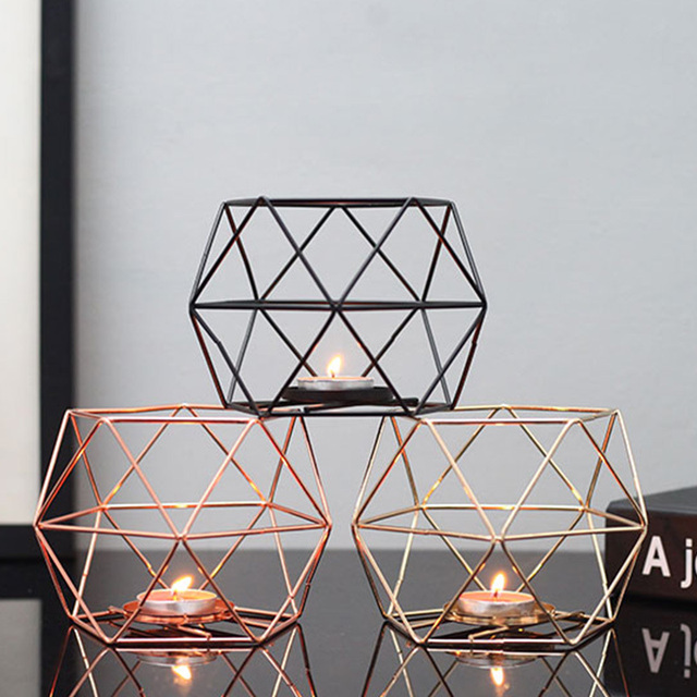 Nordic Style Geometric Iron Candlestick Candle Holders Home Wall Romantic Durable Candlesticks Wedding Home Decoration Craft 4