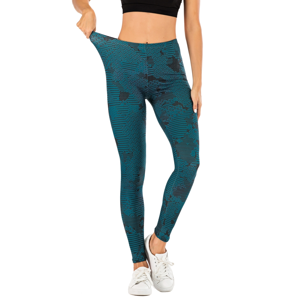 Brand Fashion Woman Pants Sexy Women Legging Dark Blue Printing Fitness Leggins Slim Legins Soft And Stretchy Leggings