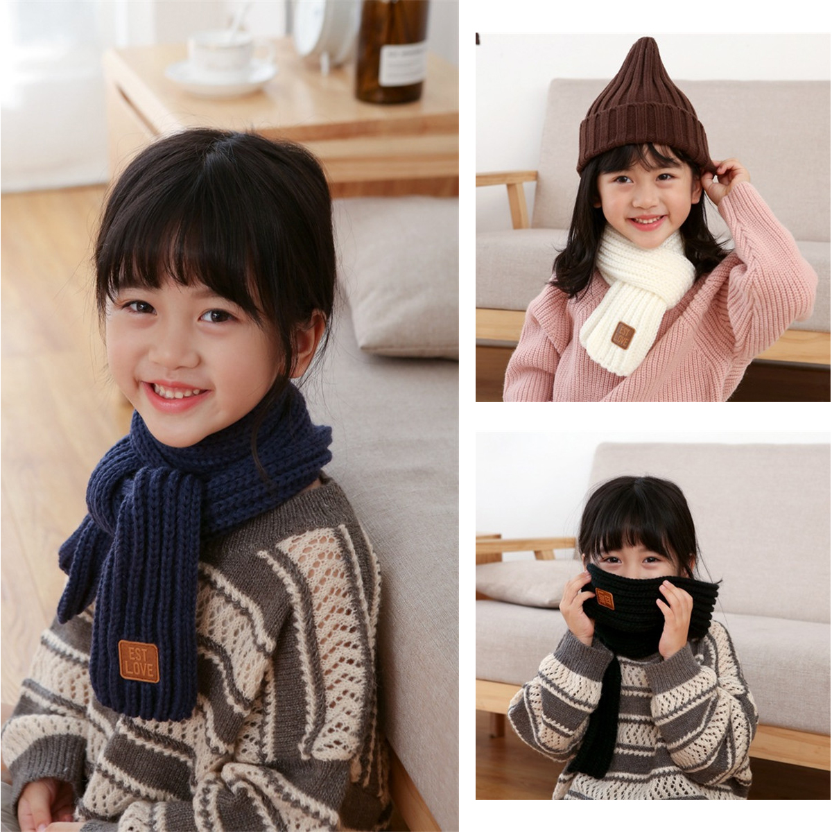 BalleenShiny Soft Kids Knitted Scarf Toddler Winter Solid Color Scarves Boys Girls Neckerchief Children Neck Accessories