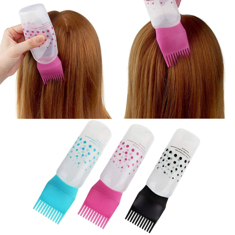 3 Pcs Hot Hair Color Applicator Bottles,Root Comb Applicator Bottle, Hair Dye Bottle Applicator Brush Dispensing Salon Hair Colo