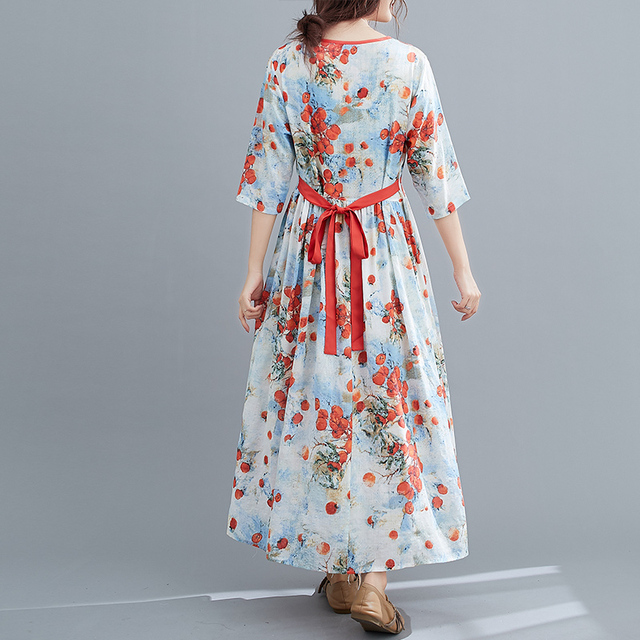 Half Sleeve Loose Summer Autumn Dress V-neck Sashes High Waist Women Dress Print Floral Vintage Dress Female Casual Midi Dress 5