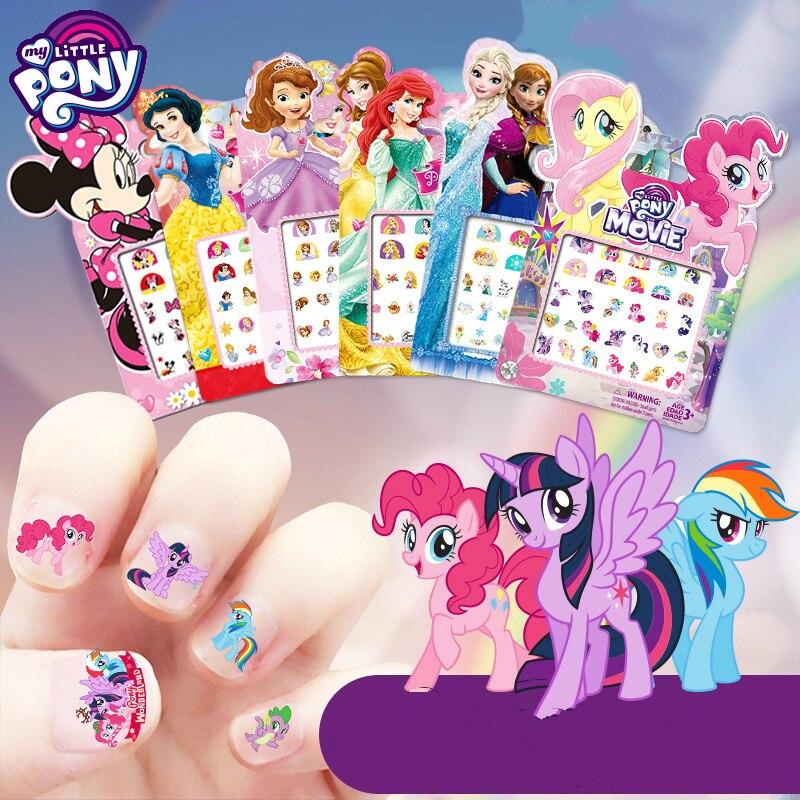 My Little Pony Sticker Children Baby Kids Makeup Toy Nail Sticker Princess Elsa Anna Sofia Snow White Mickey Minnie Sticker Gift