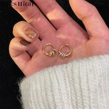 EARS HIGH MENGJIQIAO nueva moda círculo de Metal de pendientes para mujeres chicas lindo Zircon Boucle D'oreille joyería Oorbellen regalos