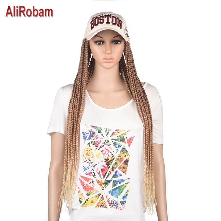 24inch Long Rainbow Braided Box Braids Wig For Black Women Synthetic Baseball Cap Wig White Hat Wig Adjustable for Girl Party