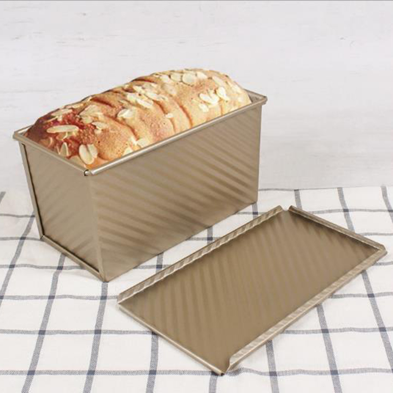 Gold Non-Stick Bread Loaf Cake Toast Mold Bakeware Baking Pan Box With Lid 450g