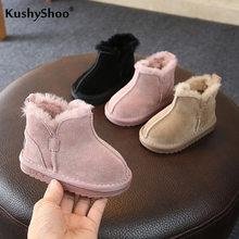 Kushyshoo Sneeuw Kinderen Bont Laarzen 2020 Plus Fluwelen Dikker Slip-On Winter Laarzen Fashion Side Rits Multicolor Non-slip Kinderen Schoenen