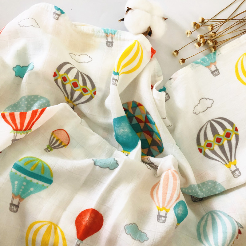 active print Newborn 47 x 47 inch Baby Muslin Swaddle Blankets Baby Swaddle Blankets bamboo cotton infant bath towel wrap | Happy Baby Mama