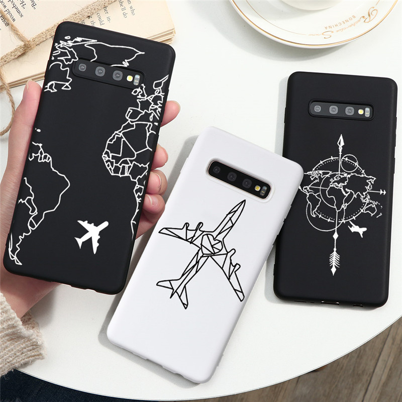 Wold Map Airplane Funda For Samsung Galaxy A51 A71 A11 A21 A31 A41 A91 A10 A20 A30 A40 A50 A70 S10 S8 S9 S20 Ultra Plus TPU Case image