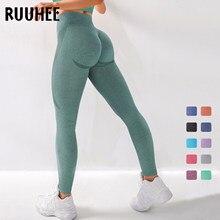 Ruuhee sem costura legging calças de yoga roupas esportivas sólido cintura alta comprimento total leggings treino para fittness yoga leggings
