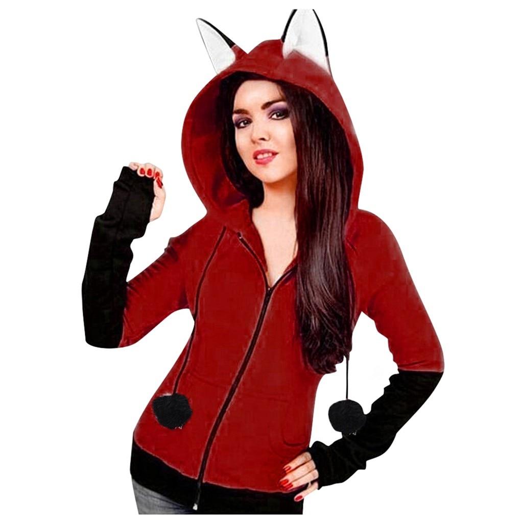 Harajuku Animal Fox Ear Cosplay Costumes Hoodies Pullover Coat Autumn Warm Orange Hooded Sweatshirt Unisex Hoodies #B