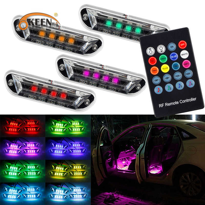 4 sztuk samochodów LED wnętrza nastrojowe oświetlenie 5050 RGB lampa dekoracyjna LED tryb muzyczny z pilot rf Multicolors Car Styling