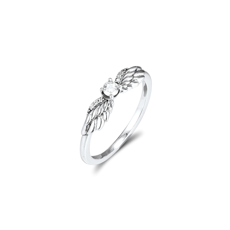 CKK Silver 925 Jewelry Angel Wing Ring For Women Fashion Gift Original Sterling Silver Ring
