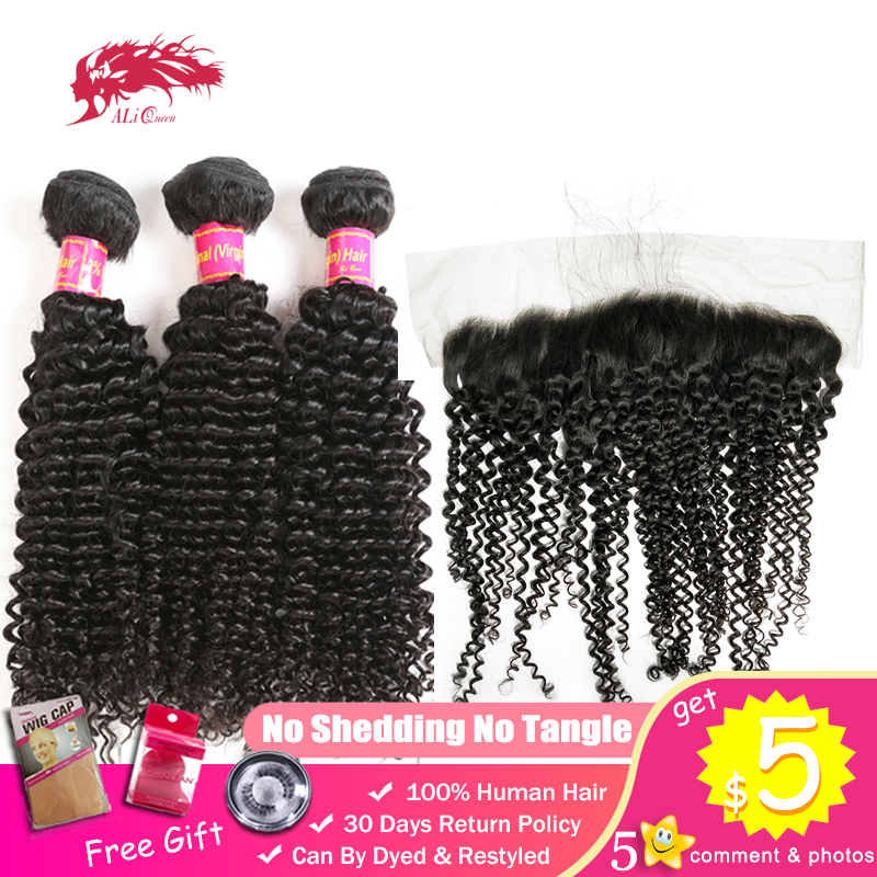 Ali Queen Bundles With 13x4 Frontal Closure One-Donor Unprocessed Virgin Brazilian Human Hair Swiss Afro Kinky Curly Free Part