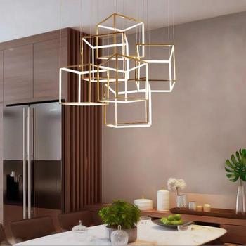 Modern Gold Cubic Pendant Lights for Hotel Living Room LED Stainless Steel Gold Acrylic Square Retro Hanging Lamp Light Fixtures