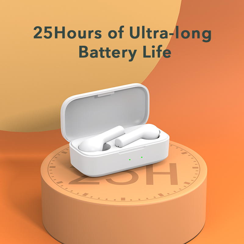 QCY T5 Bluetooth Earphones V5.0 Wireless Headphones Touch Control Stereo HD talking with 380mAh battery charging box 2