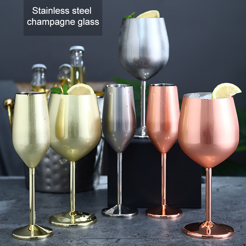 Stainless Steel Champagne Cup Wine Glass Cocktail Glass Metal Wine Glass Bar Restaurant Goblet NW