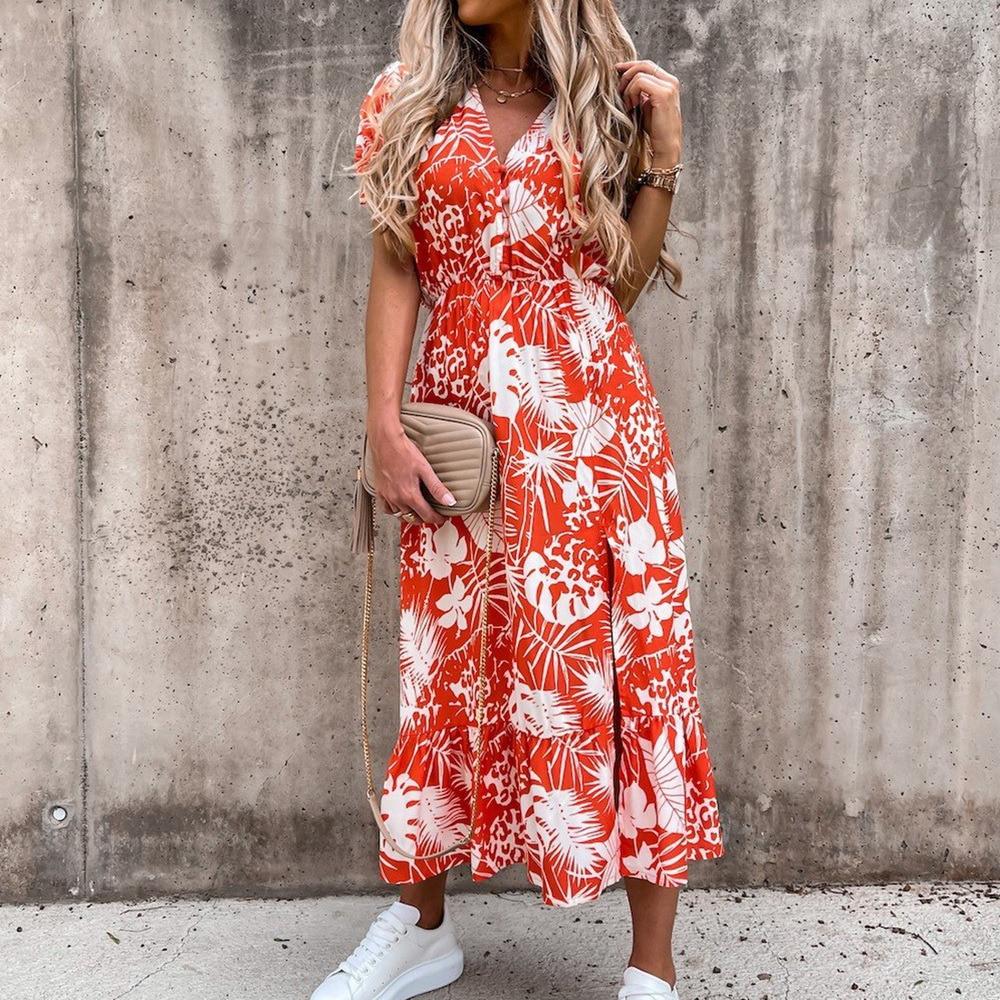 2021 Spring Floral Print Slim Long Shirt Dress Women V-neck Button Split Party Dress Autumn Long Sleeve Elastic Waist Maxi Dress 3