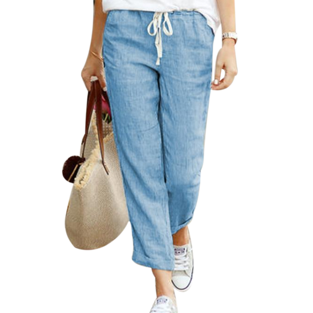 WENYUJH 2019 Autumn Women Linen Pants Summer Women Harem Pants Plus Size Causal Pants Big Size Trousers S-XL Black Blue Khaki