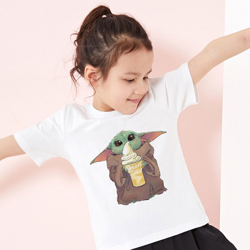 Little Girls Sloth Ice Cream Funny Short Sleeve Cotton T Shirts Basic Tops Tee Clothes