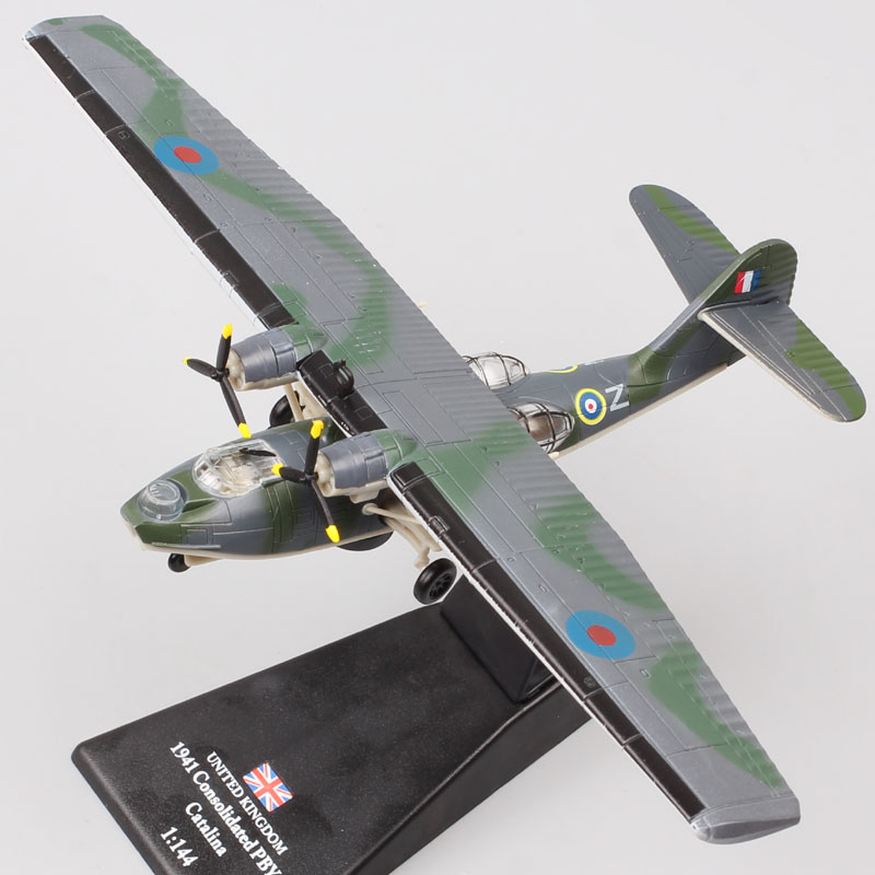 1/144 Scale Amer WW2 UK RAF 1941 Consolidated PBY 5 Catalina Aircraft Canso Amphibious Plane Diecast Vehicle Model Toy Military