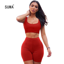 2020 Wholesale Summer Two Piece Crop Top Fitness Outfits Wom