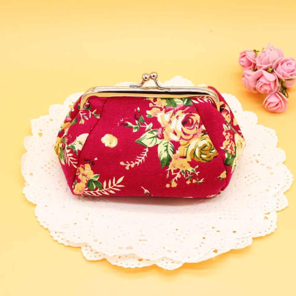 Высокое качество, женский кошелек, Ретро стиль, Цветочный, маленький кошелек, на застежке, кошелек, клатч, милый, портативный, для ключей, кошелек для монет, сумочка D2