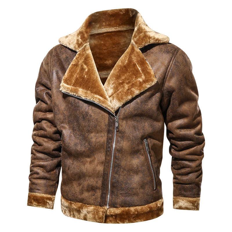 Мужские куртки зимняя замшевая кожаная куртка для мужчин 2020 мотоциклетная байкерская куртка меховое флисовое теплое пальто мужское зимнее бархатное Пальто Повседневное