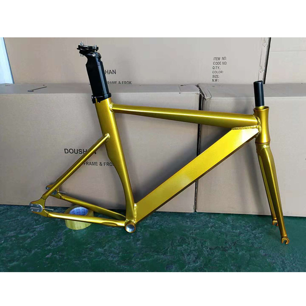 Fixie Bike Frame 52cm  56cm Track Bike Frame  Aluminum Alloy  Drawing Fixed Gear Bike  Frame With Carbon Fork