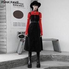 Punk Rave Vrouwen Punk Zwarte Sling Casual Workwear Jurk Street Style Verwijderbare Riem Twill Fluwelen Warme Lange Jurken