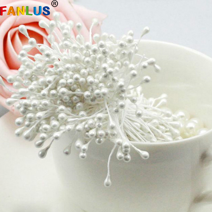 New Year Decorations 100pcs/lot Mini Pearl Flower Stamen Floral Stamen For DIY Cake Wedding