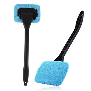 Image 2 - Car Window Windshield Wiper Microfiber Cloth Auto Window Cleaner Long Handle Car Washable Brush Clean Tool with extra 2pcs Cloth