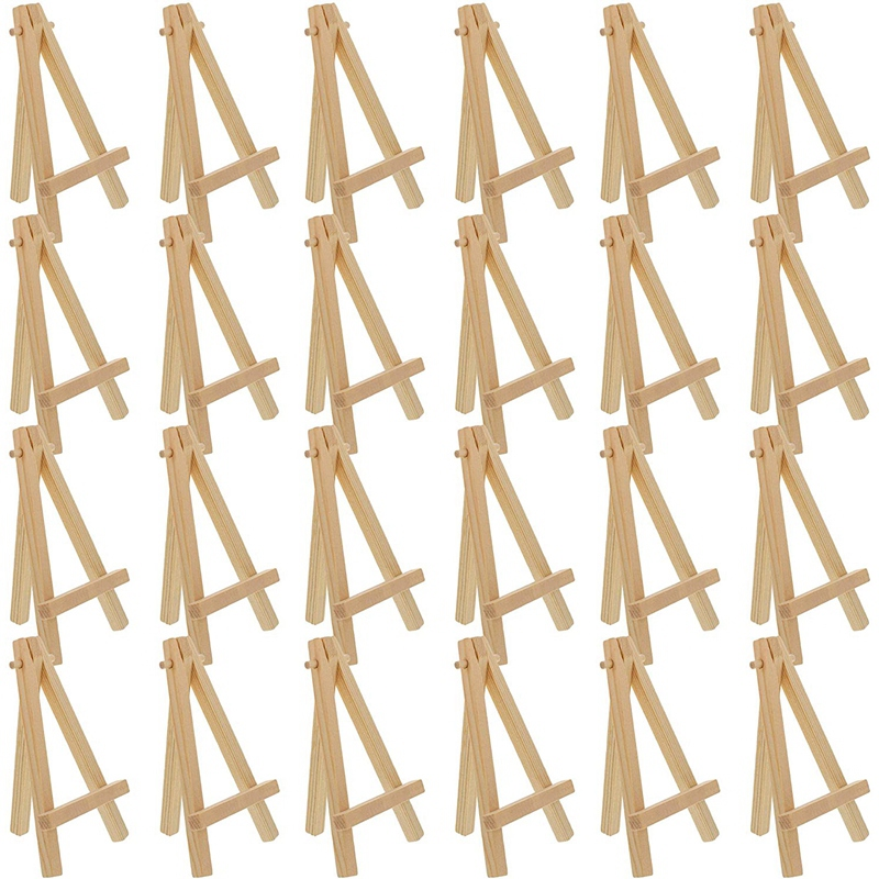 24Pcs 12.7cm Mini Wooden Display Stands, Easels, Table Top Stands, Suitable For Children's Handicrafts, Business Cards