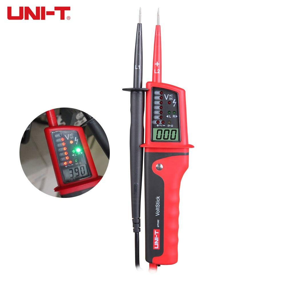 UNI-T UT15C ручка для проверки напряжения, водонепроницаемый цифровой ЖК-дисплей, переменный ток, напряжение, фаза вращения