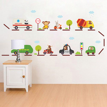Cartoon Bus Car Wall Stickers For Kids Rooms Home Decoration Baby Nursery Room Decor Poster Playroom PVC Mural Decals