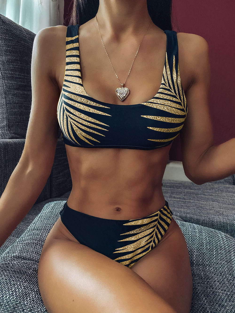 <font><b>Sexy</b></font> Leaves Printed Swimsuit High Waist <font><b>Bikini</b></font> <font><b>Women</b></font> Swimwear Sport <font><b>Bikini</b></font> set New Bather Flower Bathing Suit Swim image