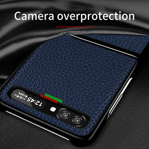 Image 2 - FLOVEME Genuine Real Leather Case For Samsung Galaxy Z Flip Case Foldable Litchi Protective Cover For Samsung Galaxy Z Flip Skin