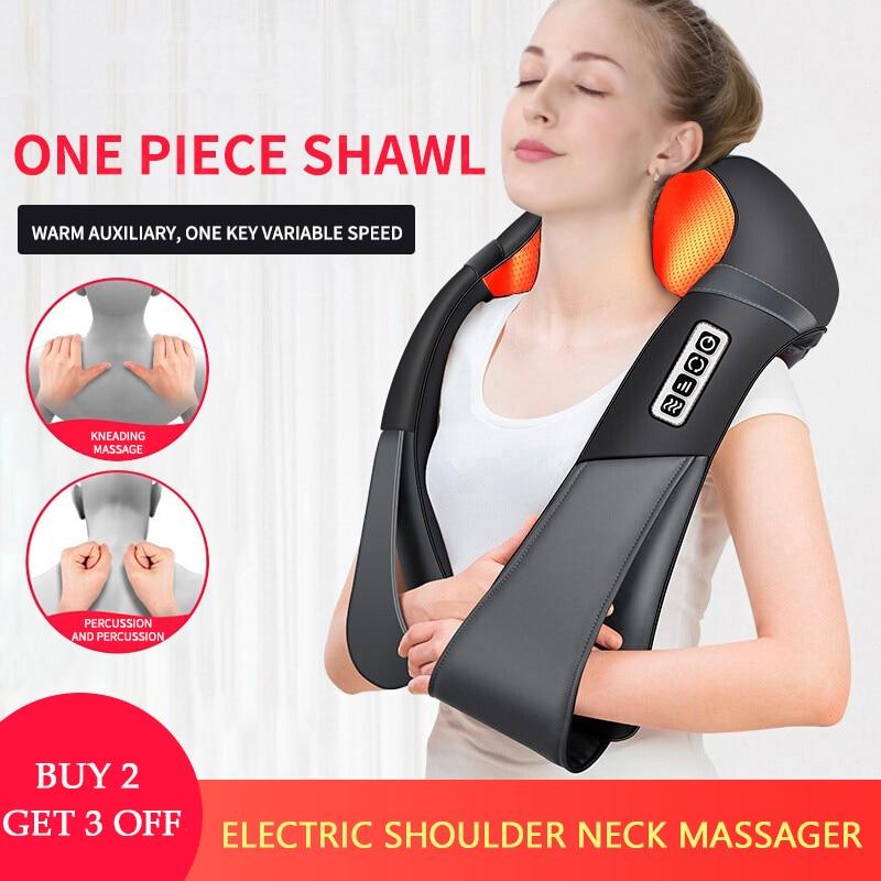 U Shape Electrical Shiatsu Back Neck Shoulder Body Massager Infrared Heated 4D Kneading Car/Home Massagem