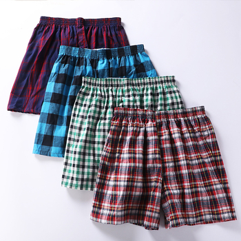 Купить со скидкой 5 pcs Mens Underwear Boxers Shorts Casual Cotton Sleep Underpants Quality Plaid Loose Comfortable Ho