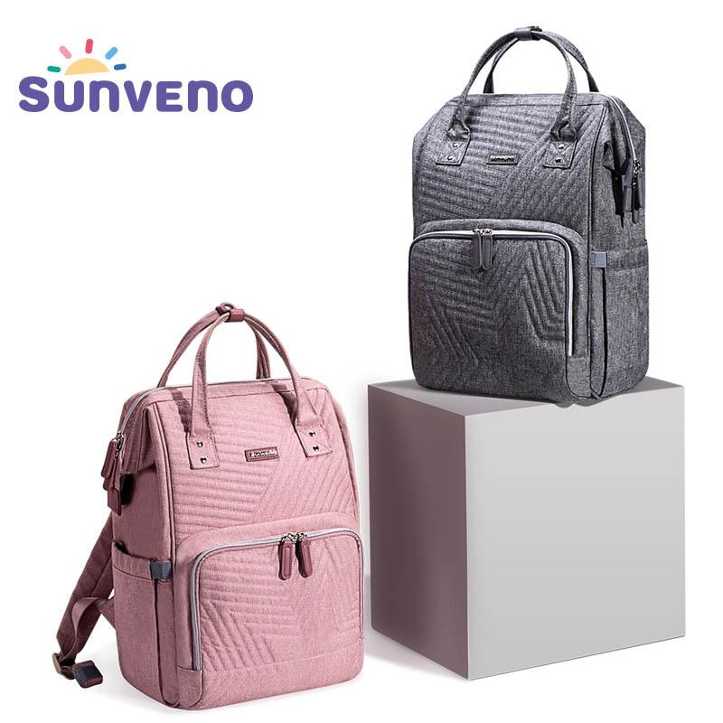 Sunveno Fashion Diaper Bag Backpack Quilted Large Mum Maternity Nursing Bag Travel Backpack Stroller Baby Bag