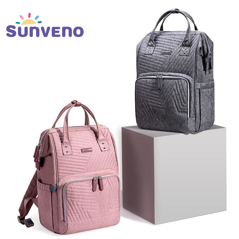 Sunveno Fashion Diaper Bag Backpack Quilted Large Mum Maternity Nursing Bag Travel Backpack Stroller Baby Bag Nappy Baby Care