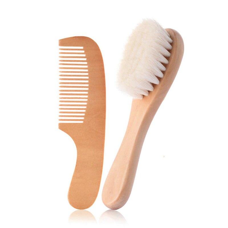 Cepillo para el cabello del beb/é reci/én nacido Cerdas de pelo de cabra con mango juego de cepillos naturales suaves para el beb/é reci/én nacido peine de madera para ni/ña