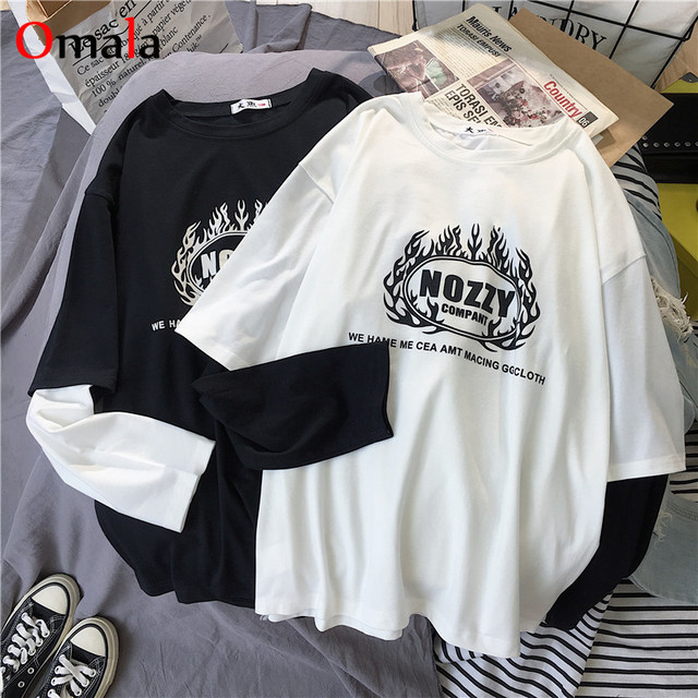 Korean letters stripe tops O-Neck All-match Students t-shirts 3