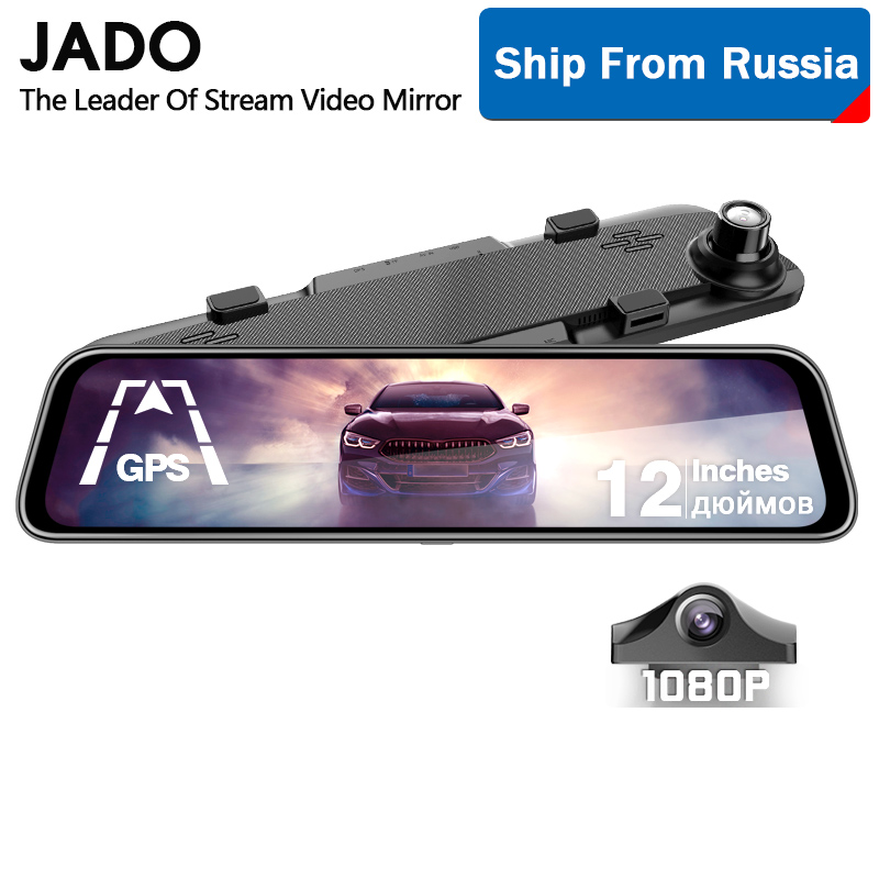 JADO <font><b>2019</b></font> G840 12-inch Streaming RearView <font><b>Mirror</b></font> Car Dvr Camera Dashcam FHD Dual 1080P Lens Driving Video Recorder <font><b>Dash</b></font> <font><b>Cam</b></font> image