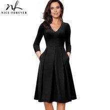 vestidos 素敵な永遠のヴィンテージソリッドカラー ラインビジネスパーティー女性フレアスイング女性ドレス v