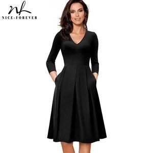 Image 4 - Güzel sonsuza kadar Vintage katı renk V yaka pin up cepler vestidos A Line iş parti kadın Flare salıncak kadın elbise A126