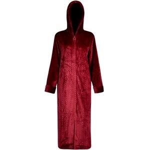 Image 3 - 女性の冬プラスサイズロング暖かいフランネルバスローブ花嫁居心地フード付きバスローブ妊婦ジッパー夜のガウン男性パジャマ