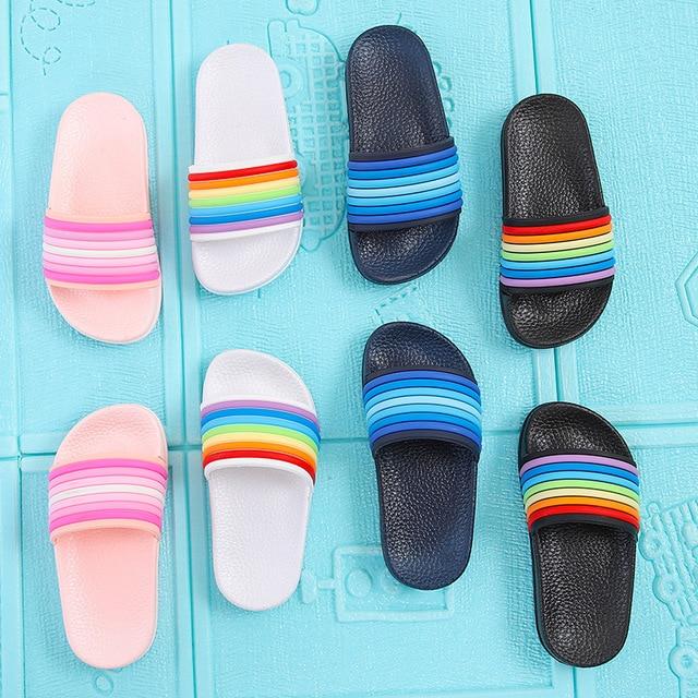 Baby Kids Girls Boys Slippers Toddler Water Children Flip Flops Barefoot Child Rainbow Striped Shoes Swimming Summer For Kids