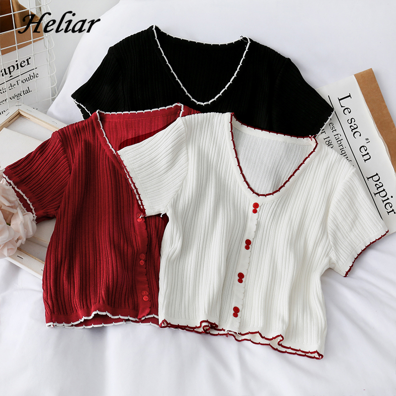 HELIAR Women T-shirts Knitted Crop Tees Female Cute Sweet Buttoned Up V-Neck Solid Casual T-shirts For Women 2020 Autumn 2