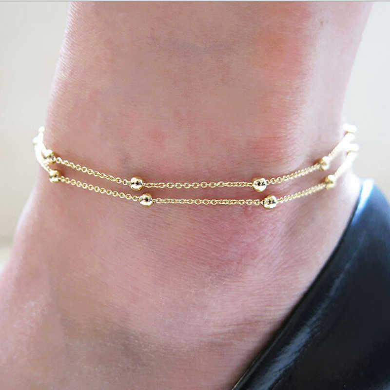 2018 nova moda calçados jóias ouro/prata two-color corrente pé anel duplo corrente grânulos tornozelo pé ornamentos para mulher menina